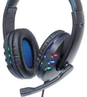 Manhattan USB-A Gaming Headset with LEDs. Retractable Built-in Microphone